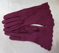 1950s Burgundy Gloves with Scalloped Edges  by dandelionvintage, $10.00
