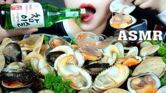 ASMR CLAMS PLATTER AND SOJU (ELONGATE COCKLE,FAT HAIRY CLAMS,TURGID VENU...