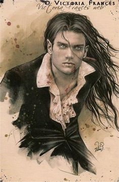 Marcus the vampire who falls in love with hybrid Ri! Victoria Frances definitely artwork i like, similar to Luis royo, and boris vallejo. Vampire Love, Female Vampire, Vampire Art, Vampire Fangs, Boris Vallejo, Dark Fantasy, Fantasy Men, Gouts Et Couleurs, Sketches