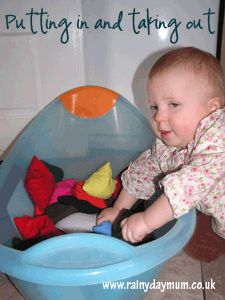 Transferring items from a container and back into a container is a favourite baby game and it helps to develop hand eye co-ordination as well as muscles in the hands and arms