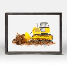 Zoomie Kids Dominic Construction Vehicles Bulldozer Mini Framed Canvas Art Toddler Boy Room Decor, Boys Room Decor, Canvas Frame, Canvas Art, Construction Bedroom, Framed Art, Wall Art, Study Space, Beautiful Textures