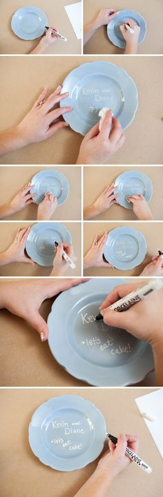 Instead of eating your cake on a regular plate, decorate a plate using porcelain paint pen. Write whatever you want, let it dry for 24 hours, place in the oven for 35 minutes at 350 degrees, and let it cool completely in the oven. Now it's ready to use :)