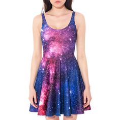 Original Galaxy Skater Dress Vivid Bold Colours Sleeveless Galaxy... ($56) ❤ liked on Polyvore featuring dresses, grey, women's clothing, galaxy skater dress, circle skirt, gray dress, holiday party dresses and grey party dresses