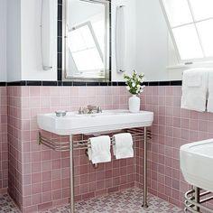 bathroom pink tile
