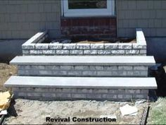 Front stoop Morph - Before, during, and after of new brick stairs and stoop with Slate Landings