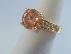 Ladies Round Champagne CZ 18K Yellow Gold Overlay Ring~Size 5 1/2-Free Gift Box