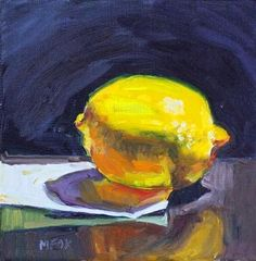 "Lemon  Piece of paper, lemon, fruit, food, pastel colors, dining room art, kitchen art, small art, daily paintings, daily art, 8"" x 10"" painting, original oil painting, Marie Fox, still life, colorful, impressionist, realism, reflections -- Marie Fox"