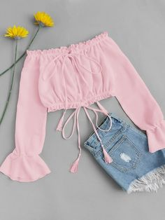 Off Shoulder Drawstring Split Front BlouseFor Women-romwe – Kleidung Really Cute Outfits, Cute Comfy Outfits, Cute Girl Outfits, Girly Outfits, Pretty Outfits, Dress Outfits, Girls Fashion Clothes, Teen Fashion Outfits, Cute Fashion