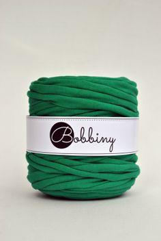 T shirt yarn recycled cotton 131yd / 120m long  Green by Bobbiny, $9.00! Prikupime!