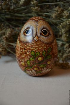 Hand Painted Roly Poly Doll, Owl