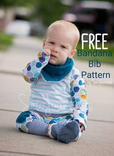 Bandana bib tutorial with free pattern template to download