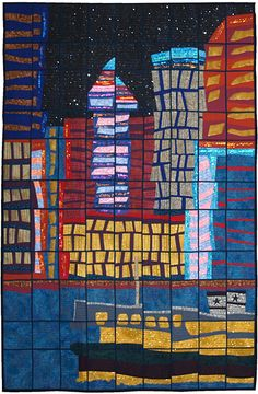 "Star Ferry, Hong Kong by Greta Fitchett. 3rd Prize,  (""Transported"" theme),  2013 Festival of Quilts (UK)"