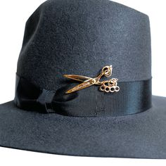 brooche for hat- 'The Gostick' Hat - Black - — Joshua Kane Bespoke