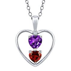 078 Ct Heart Shape Natural Amethyst and Garnet 925 Sterling Silver Pendant With 18 Inch Chain Necklace with 18 Inch Silver Chain -- Click image to review more details.(This is an Amazon affiliate link and I receive a commission for the sales)