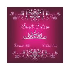 Sweet 16 16th Pink Silver Diamond Tiara Personalized Invites by Party Center