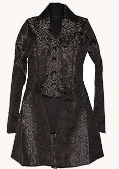 Mens Gothic Victorian Black Brocade Romantic Jacket Frock Coat Size Medium | eBay