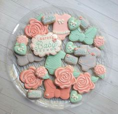 Coral & Mint Baby Shower Cookies