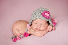 Baby Girl Hat, Newborn Baby Girl Crochet Hat in Pink and Gray Earflap, Great for Photo Prop. $49.50, via Etsy.