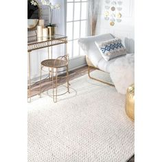 Stay on trend with the contemporary look of the nuLOOM Hand Woven Chunky Woolen Cable Area Rug. This Hand Woven, Wool versatile rug features a stylish Solid pattern that will compliment any room. White Area Rug, Beige Area Rugs, Wool Area Rugs, Le Cloud, Braided Wool Rug, Affordable Rugs, Indoor Outdoor Area Rugs, Handmade Home Decor, Rug Material