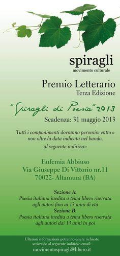 """PREMIO LETTERARIO """"SPIRAGLI DI POESIA""""2013 - TERZA EDIZIONE- http://movimentospiragli.blogspot.it/2013/04/premio-letterario-spiragli-di.html"""