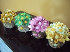 Handmade Flowers, Diy Flowers, Fabric Flowers, Crafts To Sell, Diy And Crafts, Crafts For Kids, Sewing Dolls, Flower Boxes, Spring Crafts