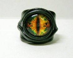 Dragon eye adjustable  genuine leather ring. Statement ring.