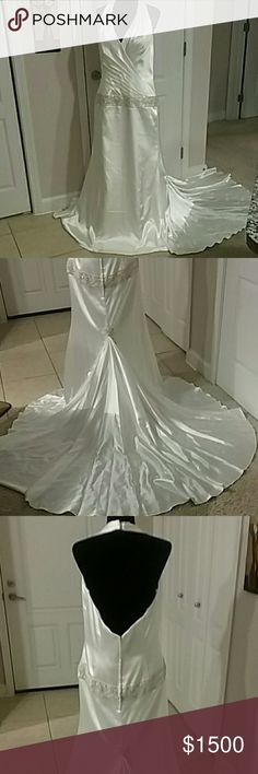 GALINA  SIGNATU/BEAUTIFUL BRAND NEW  BRIDAL DRESS Brand new wedding dress color is IVORY  Size 16 still have the tag / class style 26030011  Please look at the pictures  Open back and sipper in the back This dress is lightweight and have  linings on the inside I measure from underneath the arms pit  the length is 53 inches long This dress is perfect   The dresses shell 100% polyester and lining is 100% polyester I appreciate your business I thank you for all your shares and your likes Open…