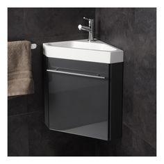 Lave-mains d'angle complet pour WC avec meuble couleur gris anthracite - Salle de bain, WC