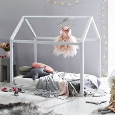 Painted Wooden House Bed