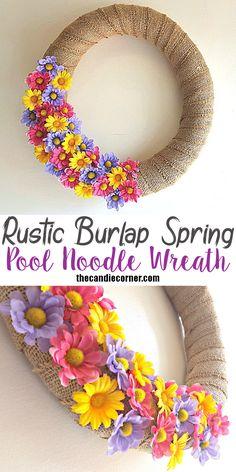 Rustic Burlap Spring Pool Noodle Wreath