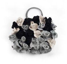 Grey Purse Designer Bag Felted Bag Handbag Purse Roses Felt Nunofelt Nuno felt Silk Silkyfelted Eco handmade fairy floral fantasy