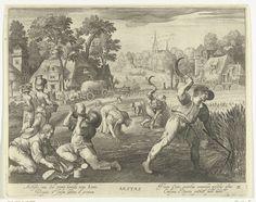 Nicolaes de Bruyn | Zomer, Nicolaes de Bruyn, Francoys van Beusekom, 1581 - 1656 | Landschap met activiteiten die plaats vinden in de zomer: mannen oogsten graan en het hooi wordt op hooizolders opgeslagen. Onder in de marge staat een vers van vier regels in Latijn.