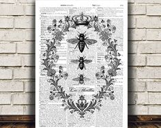 Insect art Bees poster Modern decor Dictionary by OneDictionary
