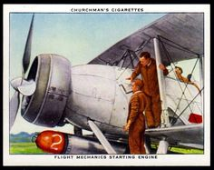 "https://flic.kr/p/NqBkfN | Cigarette Card - Starting Engine | Churchman's cigarettes ""The R.A.F. at Work"" (series of 48 issued in 1937) #22 Flight mechanics starting engine"