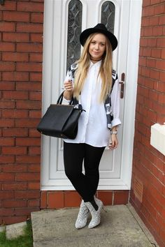 Primark: #Primania Street Style - Collage me pretty wearing white shirt, cropped knit waistcoat, black leggings, pointed print boots and fedora