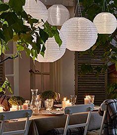 """Amazon.de: LIHAO 12"""" weiße Papier Laterne Lampion rund Lampenschirm Hochtzeit Party Dekoration"""