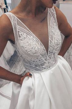 Illusion Neck Tank Beading White Long Wedding Dress is part of Wedding dresses - V Neck Wedding Dress, Long Wedding Dresses, Wedding Dress Styles, Bridal Dresses, Wedding Gowns, Wedding Venues, Wedding Dress Necklines, Wedding Hair, Wedding Rings