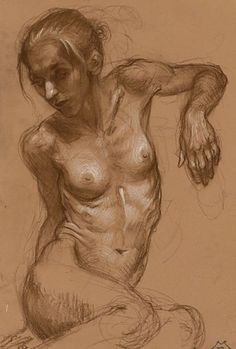 Contemporary figurative artist Matt Buck, seated nude female drawing on toned paper #NSFW