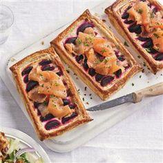 Beetroot and smoked salmon tart with horseradish
