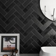 Country Anthracite, Anthracite Mate Contemporary bathroom design with traditional black wall tiles.