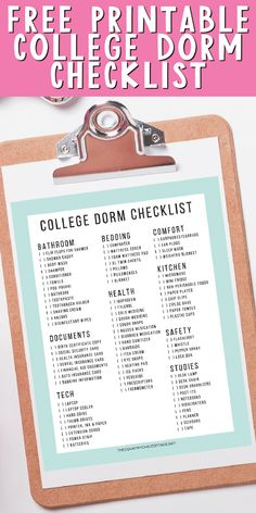Grab this free printable college dorm checklist and make sure you have everything packed for when you arrive on campus! #college #dorm #packinglist College Dorm Checklist, Packing Checklist, Room Wanted, Dental Insurance, Mattress Covers, Weighted Blanket, Life Savers, Free Printables, Things To Come
