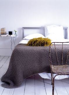 textured knit and wood and white