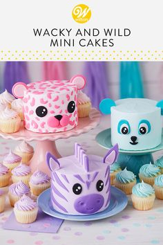 Give your little one a cake of his or her own on their first birthday with these Wacky and Wild Mini Smash Cakes. Made to look like a leopard, zebra or bear, these cakes are ready for one wild party! Don't need a smash cake? No worries! Make all three cakes for a fun display at your next kids' birthday celebration. #wiltoncakes #cakes #minicakes #cakedecorating #cakeideas #birthdaycake #birthdayparty #kidsparty #animalcakes #themedparty #zebracake #bearcake #leopardcake #smashcake #fondantcake Gateau Iga, Cake Cookies, Cupcake Cakes, Cake Fondant, Leopard Cake, Petit Cake, Celebration Cakes, Birthday Celebration, Wilton Cakes