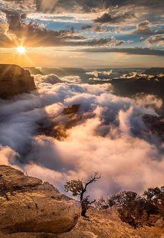 Sunrise over Grand Canyon-Arizona -USA. Beautiful World, Beautiful Places, Beautiful Pictures, Magic Places, Grand Canyon Arizona, Arizona Usa, Beautiful Sunrise, Beautiful Morning, Nature Pictures