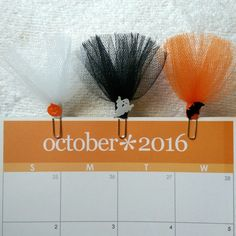 Tulle Tutu Paper Clips - Halloween Ghost, Bat, Pumpkin - For Planners/Bookmark by PumpkinParcel on Etsy https://www.etsy.com/listing/462937022/tulle-tutu-paper-clips-halloween-ghost