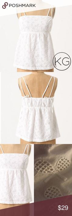 "Anthropologie All Court Advantage Top by Postmark In great pre-owned condition! •Women's size 00 •100% Cotton •15.5"" from underarm to underarm, 13"" across waist (elastic waist that can be expanded), 16"" from top of bust to hem (adjustable straps) •Adorable tennis racquet embroidered pattern •Retail $68 🚫no trades nor lowball offers🚫 Thank you for shopping in my closet! Anthropologie Tops Tank Tops"