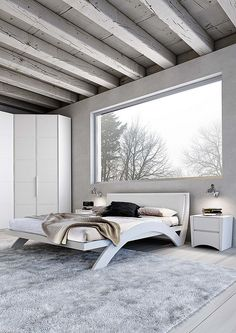 love the beams and the bed
