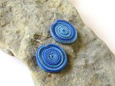 Blue Round Polymer Clay Earrings, Dangle Mandala Polymer Clay Earrings, Polymer Clay Jewelry For Teenager, Circle Bohemian Boho Earrings