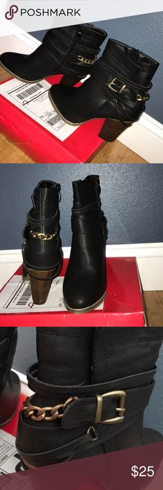 Black faux leather heeled moto booties w/ chain Only worn in house to try on. Didn't return in time. New condition. Black faux leather with strappy and gold chain detail. 3 1/2 inch heel. Purchased from local boutique Apricot Lane. Focus Shoes Ankle Boots & Booties