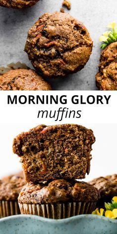 These hearty and simple morning glory muffins taste like spiced apple cake and moist carrot cake. for breakfast! Muffin Recipes, Baking Recipes, Breakfast Recipes, Baby Recipes, Microwave Recipes, Breakfast Muffins, Scones, Morning Glory Muffins, Sallys Baking Addiction